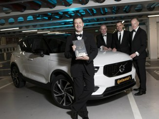 David Thomas, Managing Director of Volvo Ireland, accepting the Irish Car of the Year 2019 award for the Volvo XC40
