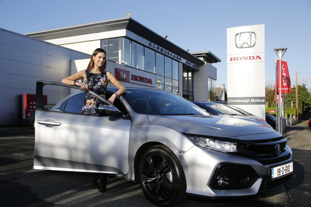 Alison Canavan pictured with the new Honda Civic