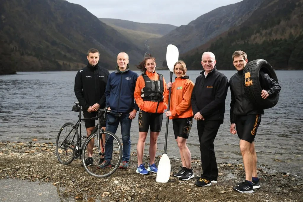 Paul Mahon, Outfront Events, second from left, and Tom Dennigan, General Sales Manager, Continental Tyres Ireland, with adventure athletes, from left, Padraig O'Connor, Kelly Farrell, Laura O'Driscoll, National Champion, and Bernard Smyth