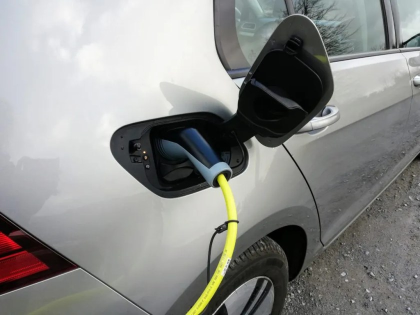 The Volkswagen e-Golf can be charged at home or on the public charging system