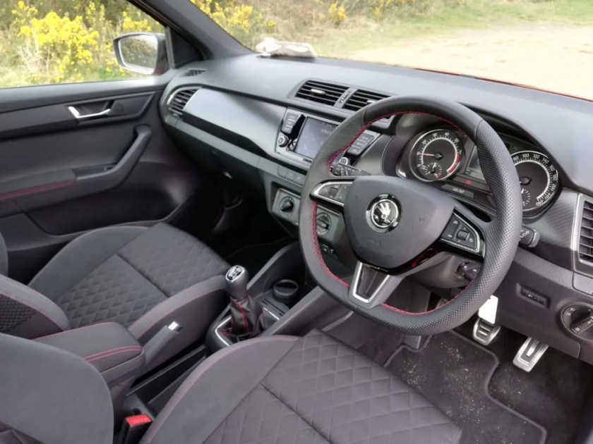 The interior of the Skoda Fabia Monte Carlo