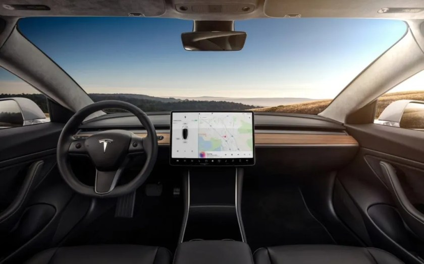 The interior of the TESLA Model 3