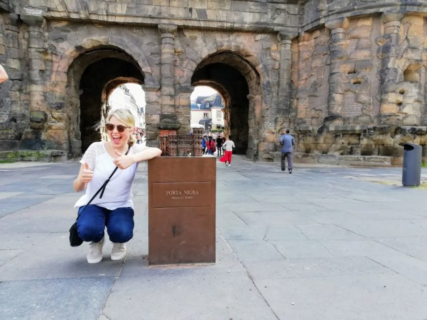 At the Porta Nigra in Trier, Germany