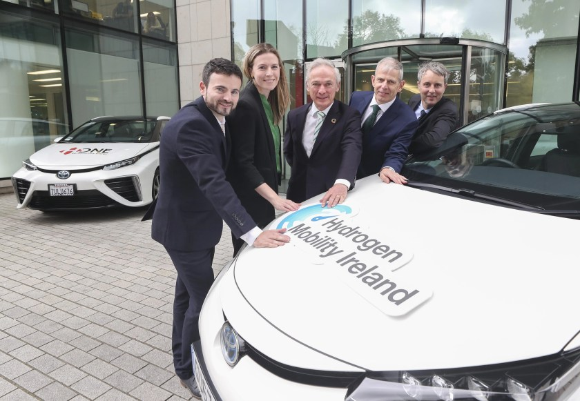 Dr. James Carton, DCU, Catherine O' Kelly, Bord Gais Energy, Minister Richard Bruton, Minister for Communications, Climate Action and Environment, Mark Teevan, Chairman of Hydrogen Mobility Ireland and Ben Madden, Element Energy at the recent Hydrogen Mobility Ireland report launch