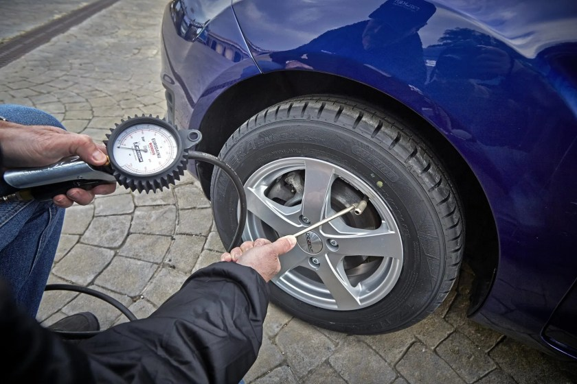 Check your tyre pressures and the condition of your tyres