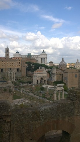 View of the Roman Forum and modern day Rome from Palatine Hill