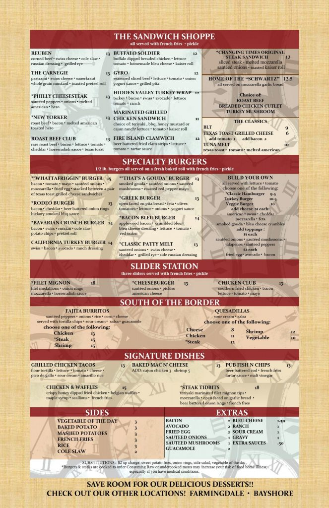 Changing Times Ale House Menu