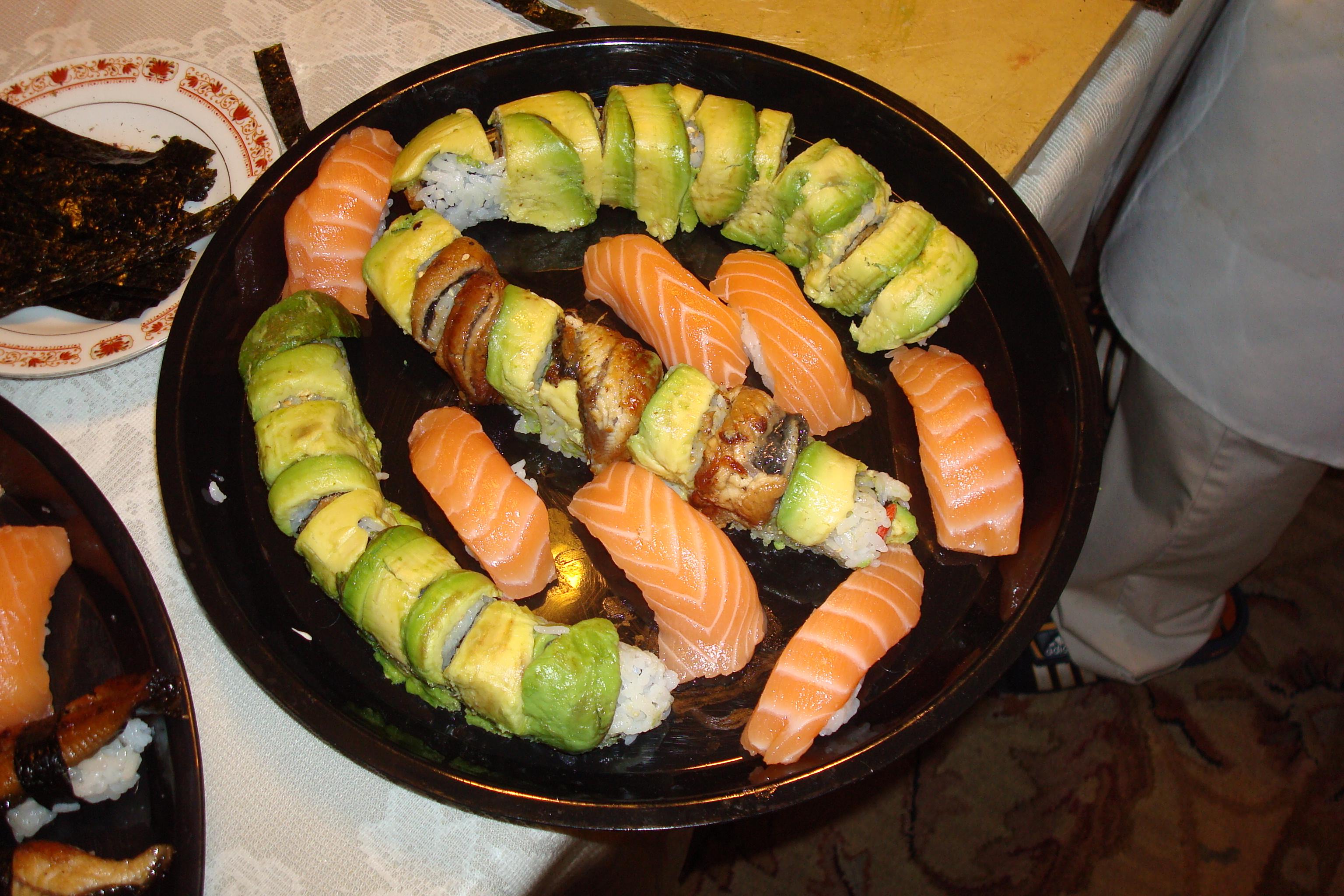 Custom Avocado, Salmon, Eel Rolls