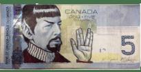 billet canadien avec spock qui fait le salut vulcain dessus.