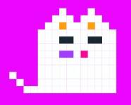 un chat pixélisé à l'air très mignon comme ça. mais c'est un démon! ça c'est un vrai héros de geek romance