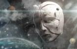 sculpture dans l'espace d'un visage humain avec écrit dessus nez, tête, menton et yeux