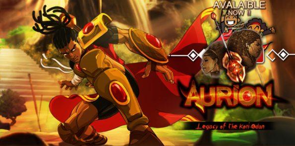 visuel dessin animé d'un jeu vidéo: aurion. Un homme noir avec une armure d'or et de rubis vient d'atterir d'un saut.