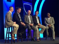 Panel members Struters (second from left), Dawson (centre) and Perez (second from right), flanked by Intel Security's Richard Steranka (left) and Ken McCray (right)