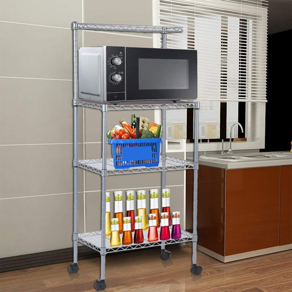 kitchen wire rack cabinet refinishing 3 tier high quality stand storage shelving microwave silver