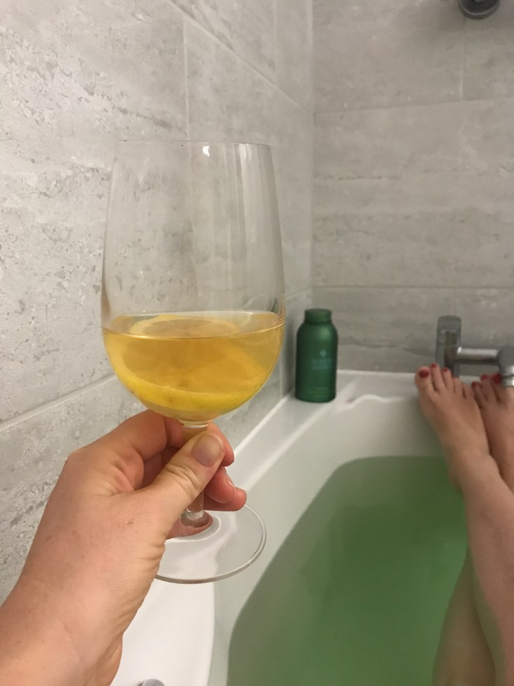 drinking a hot whisky in the bath