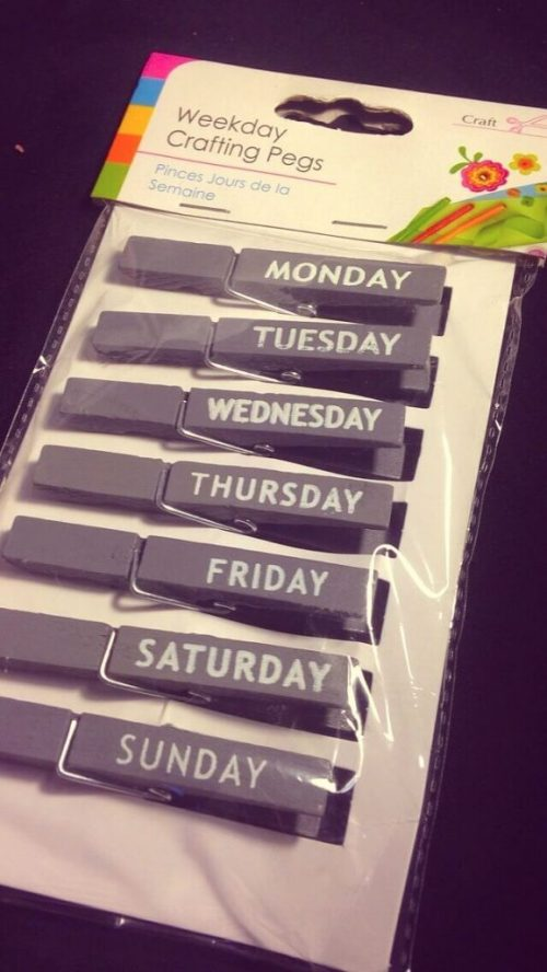 Days of the Week pegs from the Range