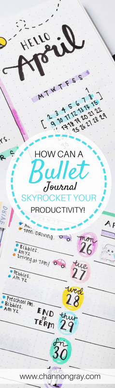 Finding productivity and using your time wisely can be challenging. With the right tools, advice and system in place, you'll soon be on your way to a more productive life. Using a Bullet Journal could be your answer to being more productive - www.channongray.com // heythereChannon #productivity #bulletjournal #organisation