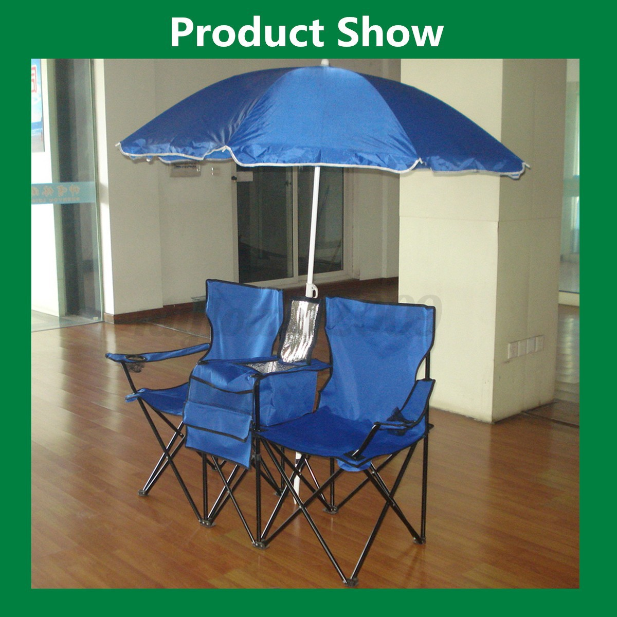 Double Folding Camping Chair Folding Picnic Double Chair W Umbrella Table Cooler Fold