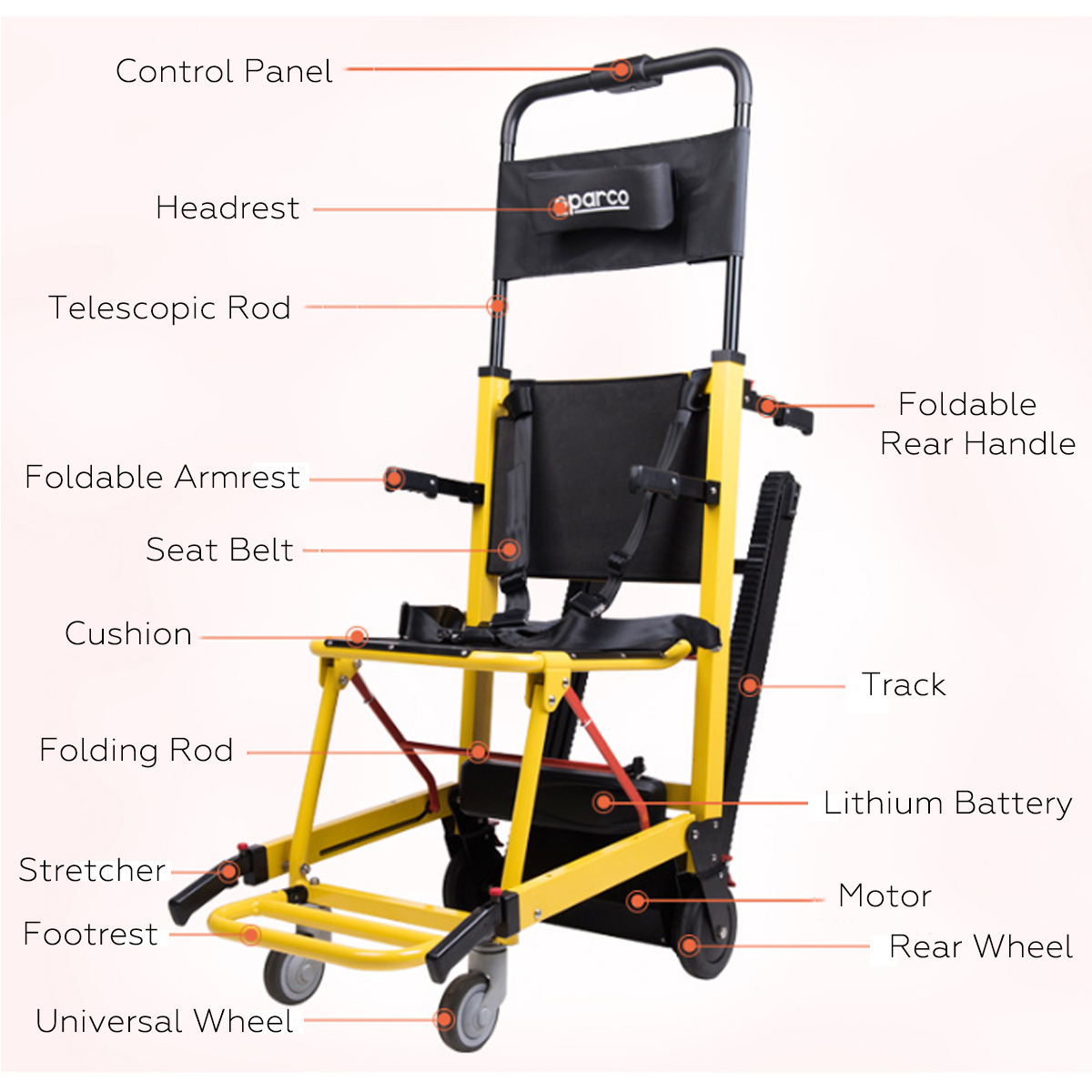 Portable Chair Lift Portable Stair Lifting Motorized Climbing Wheelchair Stair