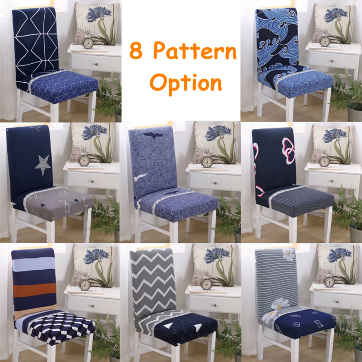 Chair Cover Patterns Details About 8 Pattern Stretch Dining Chair Cover Washable Removable Slipcover Seat Cover
