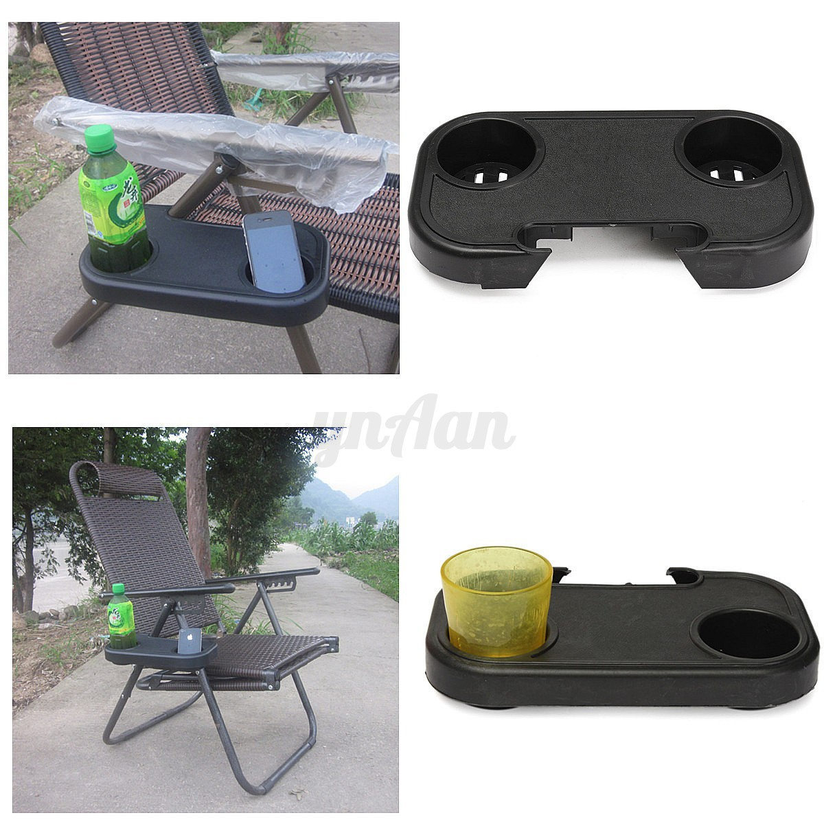Beach Chair With Cup Holder Clip On Relaxer Beach Chair Side Table Tray 2 Cup Glass