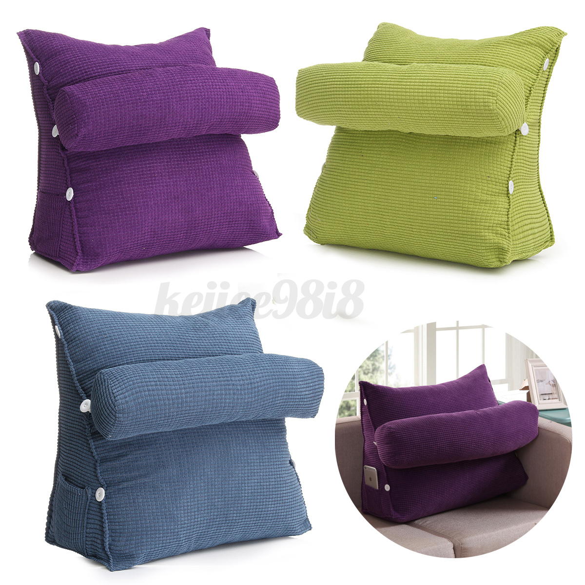 Bed Chair Pillow Adjustable Back Wedge Cushion Pillow Sofa Bed Office Chair
