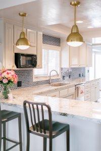 very blue kitchen, Kitchen, Dining Room, remodel, painted ceiling, dmv interior designer, bowie maryland, washington dc, bar