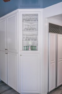 very blue kitchen, Kitchen, Dining Room, remodel, painted ceiling, dmv interior designer, bowie maryland, washington dc, storage