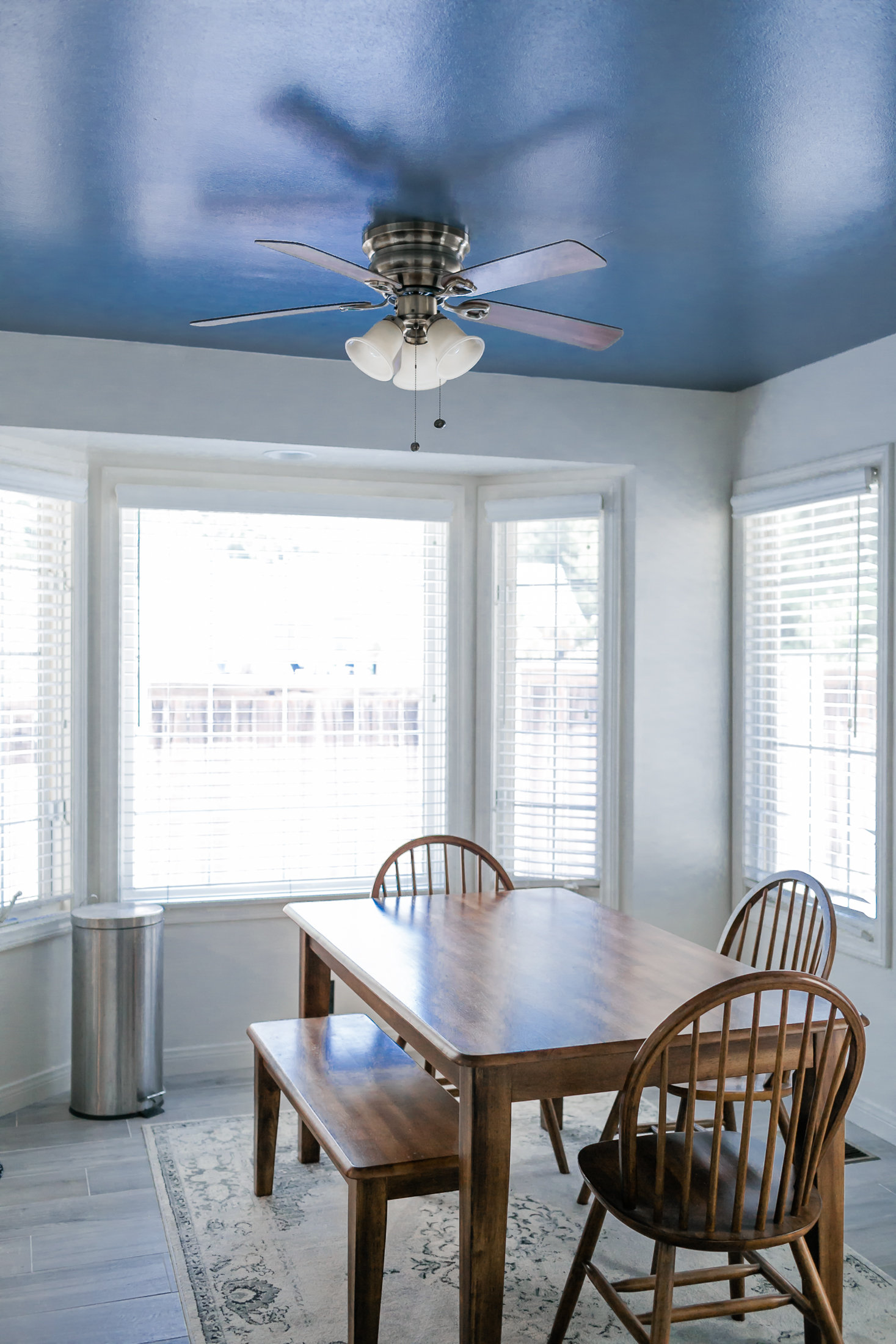 very blue kitchen, Kitchen, Dining Room, remodel, painted ceiling, dmv interior designer, bowie maryland, washington dc, pulls, painted ceiling