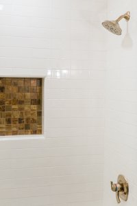 Earthy Bathroom, Bathroom Remodel, remodel, dmv interior designer, bowie maryland, washington dc, bronze niche