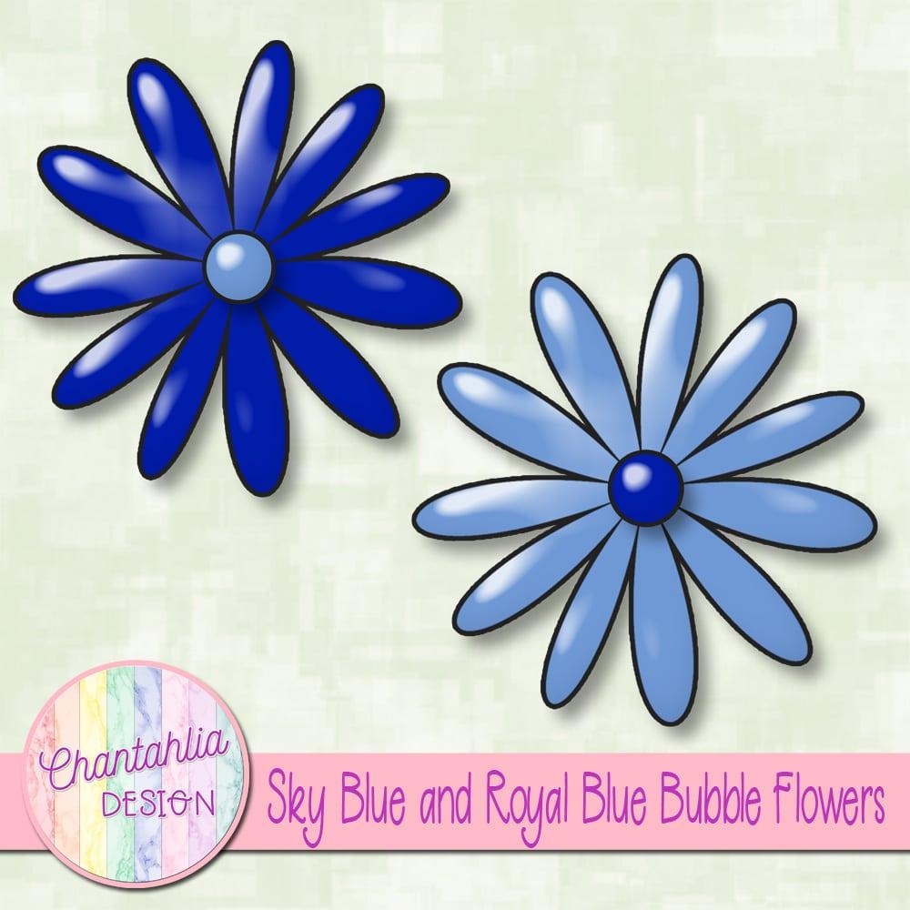 Sky Blue And Royal Blue Bubble Flowers Chantahlia Design