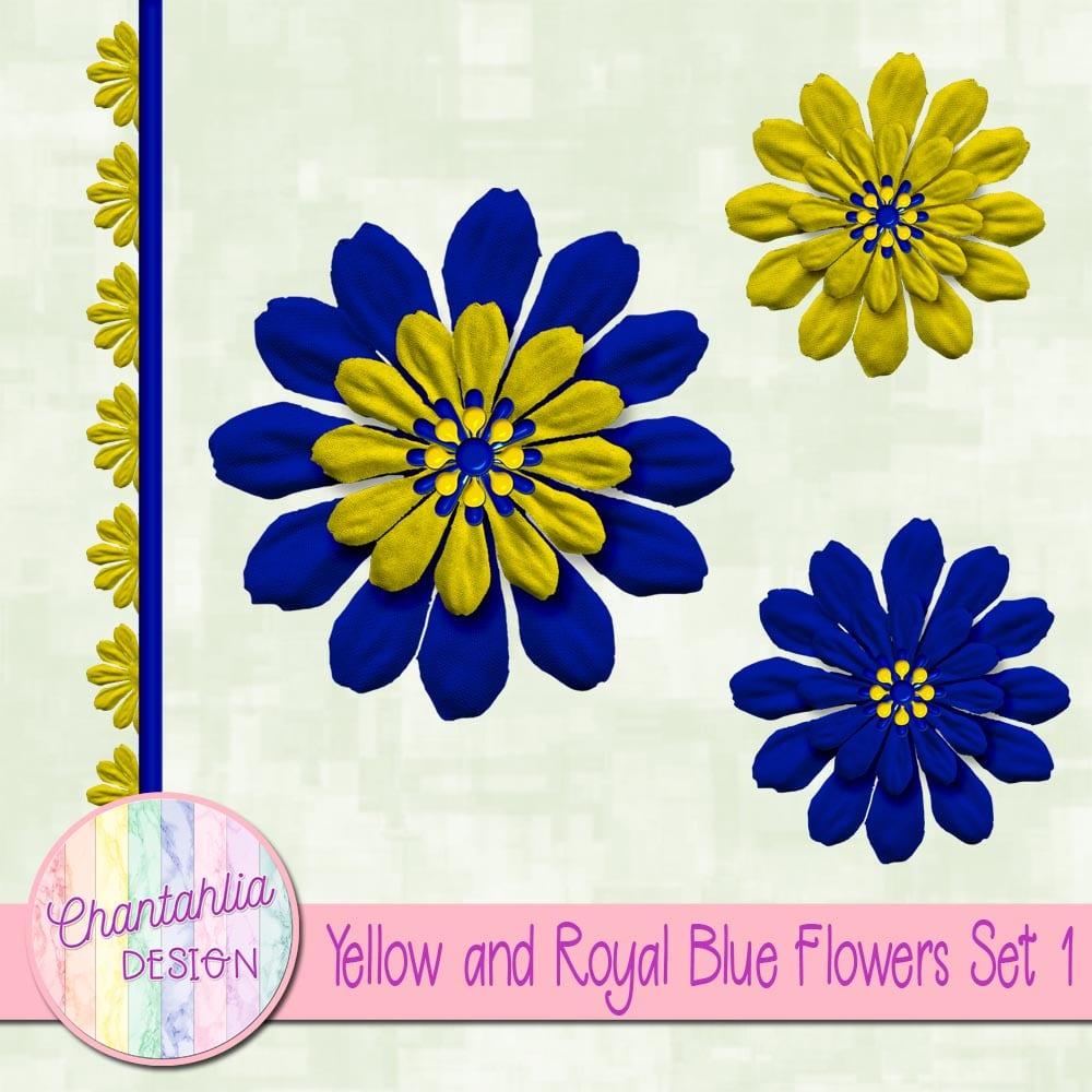 Yellow And Royal Blue Flowers Set 1 Chantahlia Design