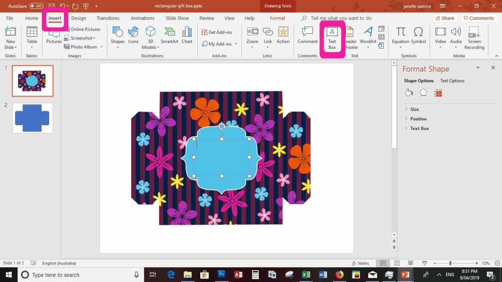 powerpoint screen of making gift box
