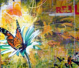 12 seconds of beauty, 2005 4'x4' mixed media on wood panel