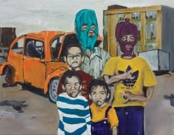 "Damn...Wish We Had Skeez, 2013 48"" x 61.5"" Oil and Spray Paint on Canvas"