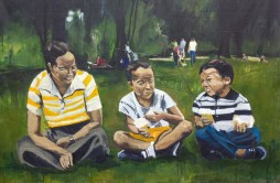 Ice Cream With Mom At King's Park, 2012 7'x9.5' mixed media on canvas (sold)