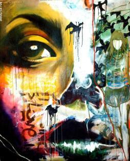 Leslie, 2006 5'x4' mixed media on canvas