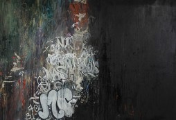 """Forever Found, 2013 60"""" x 87"""" Oil and Spray Paint on Canvas"""