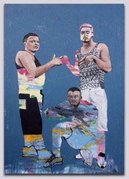 """Truce, 2016 53""""x37"""" Mix media on canvas"""