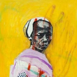 "Yellow Nang, 2014 24"" x 24"" oil and spray paint on panel"