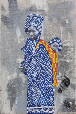 """mother and shorty, 2015 7"""" x 9"""" acrylic & photo transfer on wood panel"""