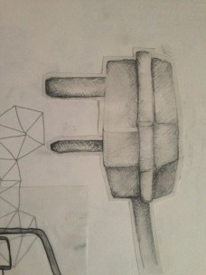 Observational drawing of a plug.