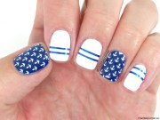 nautical nail art with kads stamping