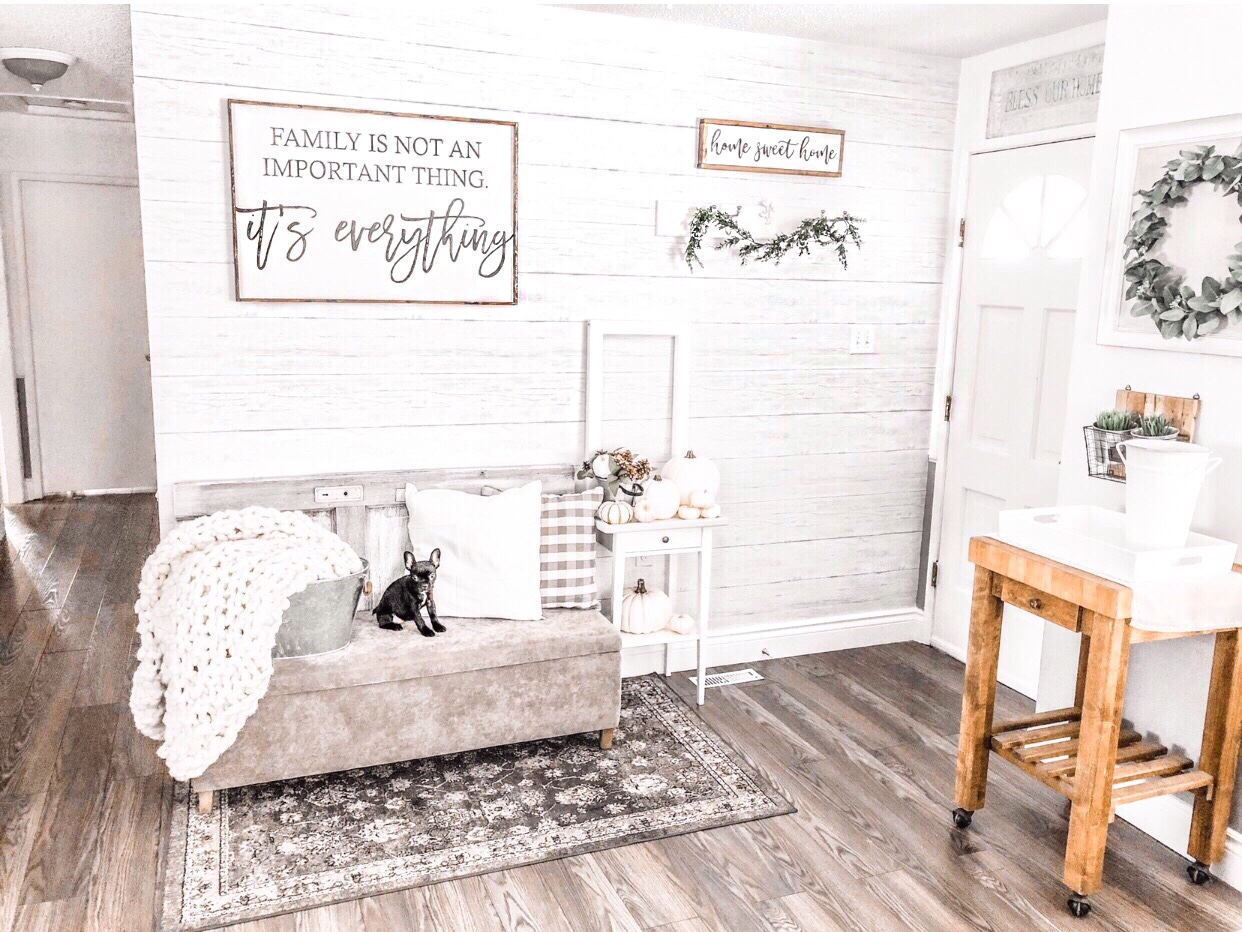 Shiplap makeover using peel and stick wallpaper