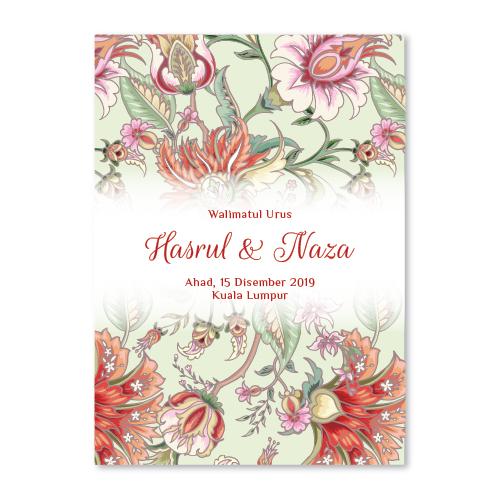 Kad Kahwin abstrak 9 floral