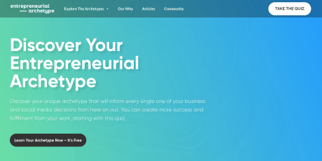 Landing page of Amanda Bucci's Discover Your Entrepreneurial lead-generating quiz.