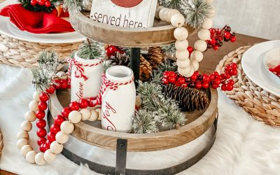 Red and White Christmas Table Decor and Centerpiece