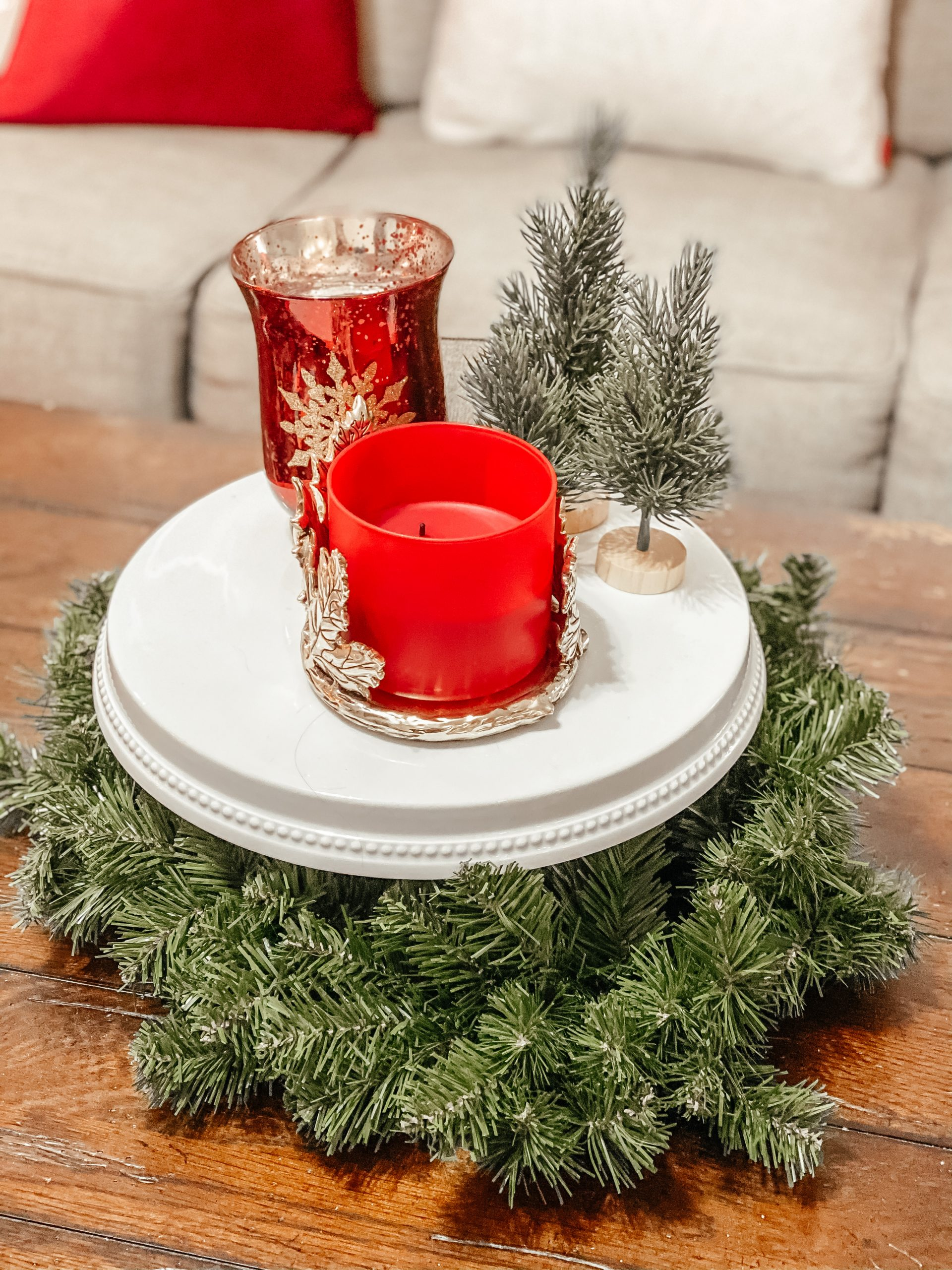 Red and White Christmas Centerpiece