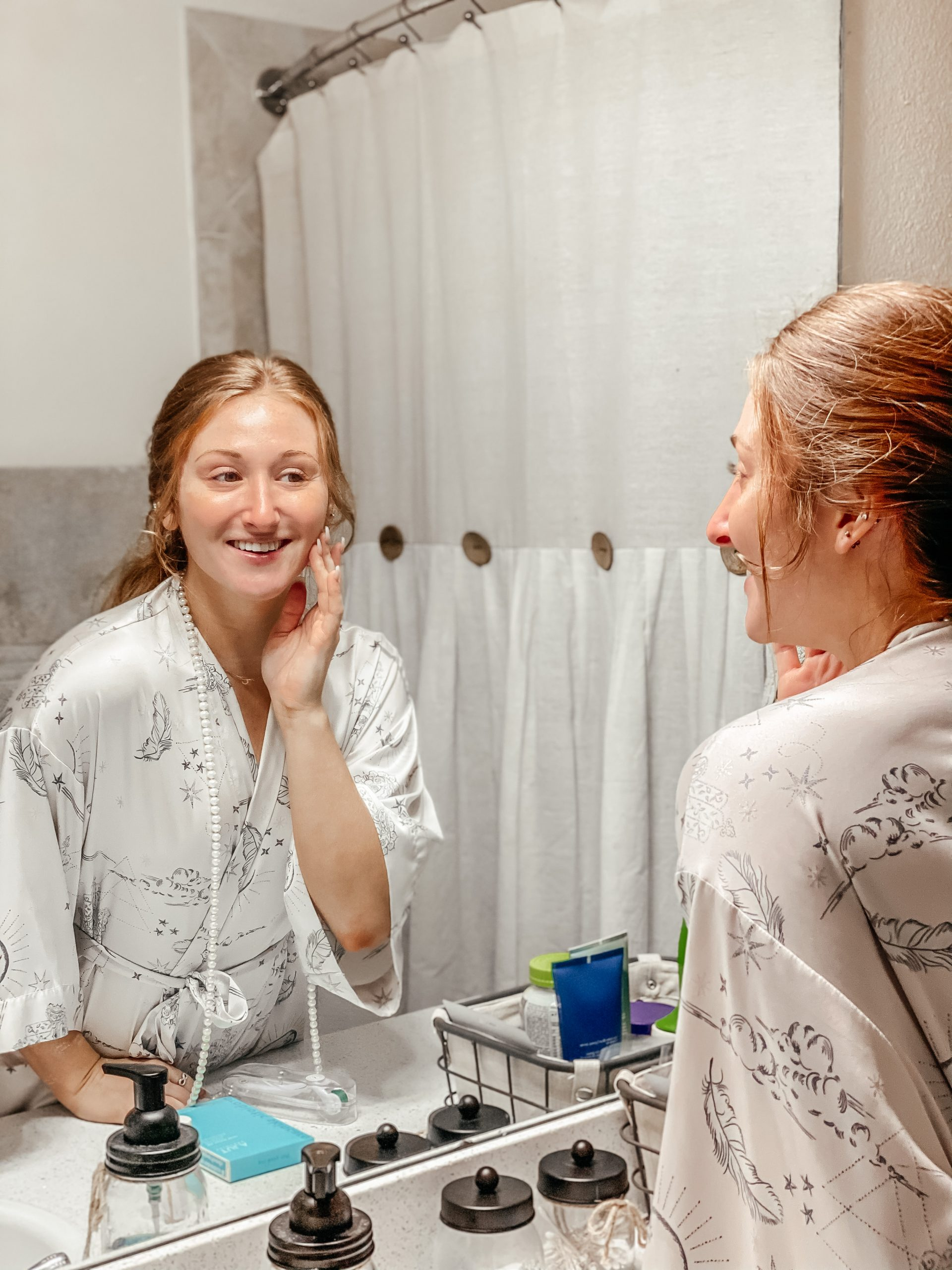Carrington with acne skincare products like the Tula exfoliating skincare pads.