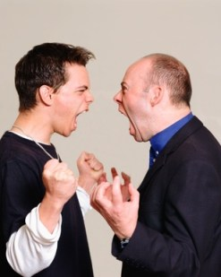 Father and son shouting